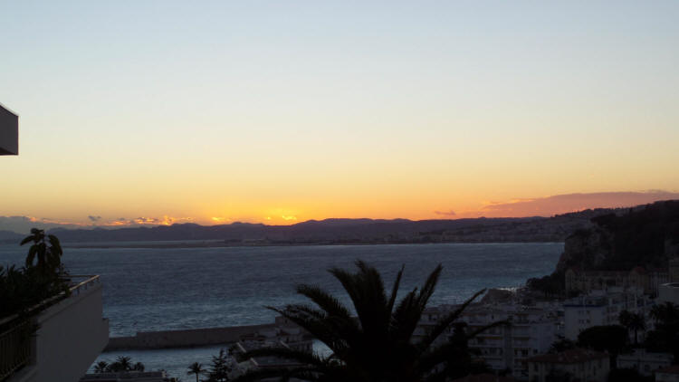 January sunset over the airport towards Cannes