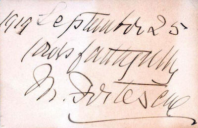 Original signature, 1919 September 25, Yours faithfully, J W Fortescue - (Webmaster's Collection)